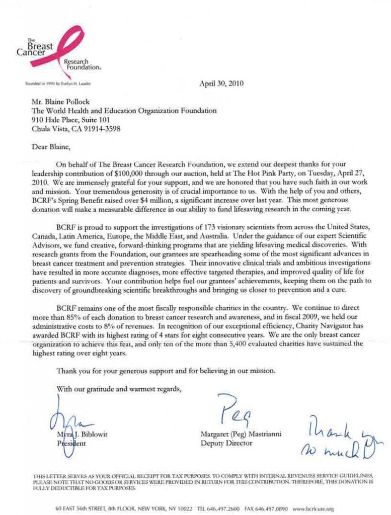 Breast Cancer Foundation Thank You Letter
